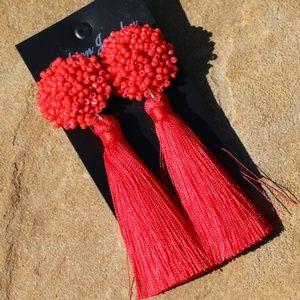 New! Large Red Boho Earrings Post Drop Tassels